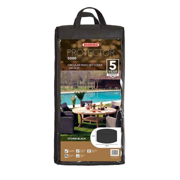 Bosmere Protector 5000 Circular 4/6 Seat Patio Set Cover (Storm Black) carry bag