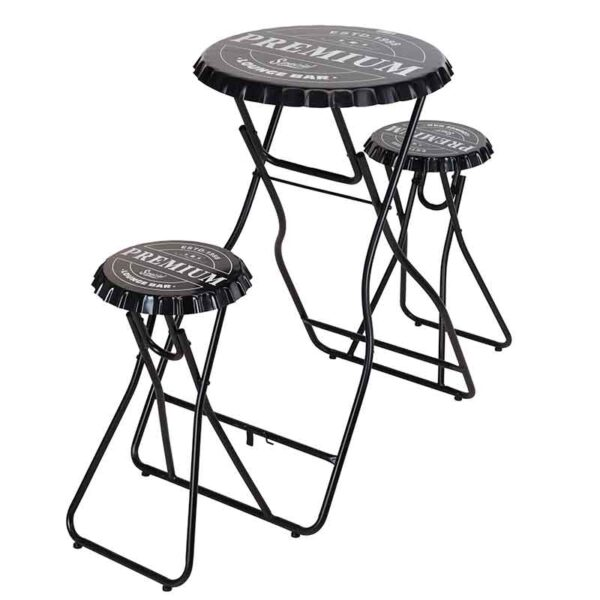 Bottle Top Foldable Table Set with 2 Stools