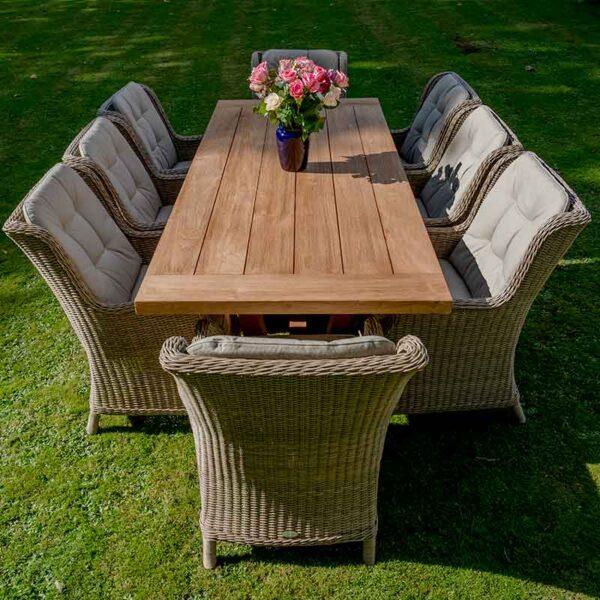 Bramblecrest 8 Seat Dining Set with Kuta Table & Oakridge Armchairs