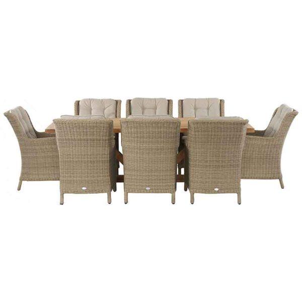 Bramblecrest 8 Seat Dining Set with Kuta Table & Oakridge Armchairs side view