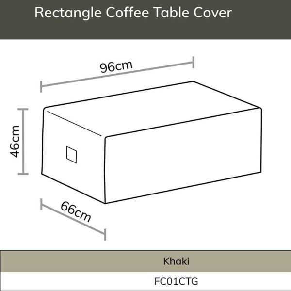 Bramblecrest Aluminium Rectangle Coffee Table Cover dimensions