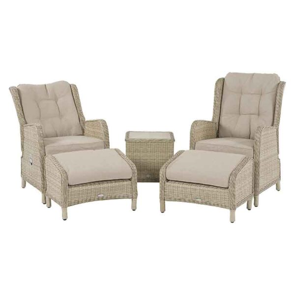 Bramblecrest Chedworth 2 Seater Recliner Set in Sandstone with one showing in recline position