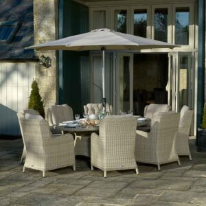 Bramblecrest Chedworth 8 Seater Set in Sandstone with Parasol & Base