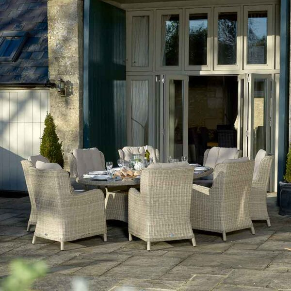 Bramblecrest Chedworth 8 Seater Set in Sandstone with Parasol & Base shown without Parasol (which is included)
