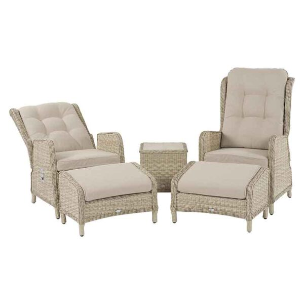 Bramblecrest Chedworth Deluxe 2 Seater Recliner Set in Sandstone with one shown in recline position