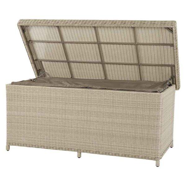 Bramblecrest Chedworth Large Cushion Storage Box in Sandstone open & showing liner