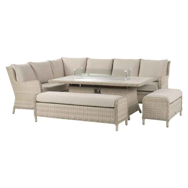 Bramblecrest Chedworth Modular Sofa, Rectangular Casual Dining & Fire Pit Set in Sandstone