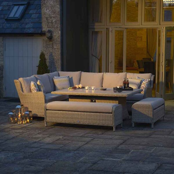 Bramblecrest Chedworth Modular Sofa, Rectangular Casual Dining & Fire Pit Set in Sandstone with fire pit folded away