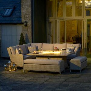 Bramblecrest Chedworth Modular Sofa Set with Rectangular Fire Pit Table in Sandstone with fire pit lit