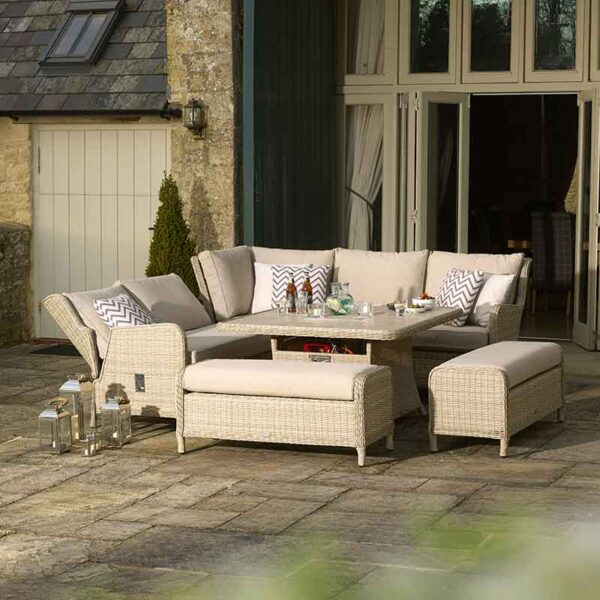 Bramblecrest Chedworth Modular Sofa, Square Casual Dining & Fire Pit Set in Sandstone showing reclining left hand sofa