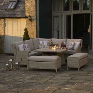 Bramblecrest Chedworth Modular Sofa Set with Square Fire Pit Table in Sandstone with fire pit on