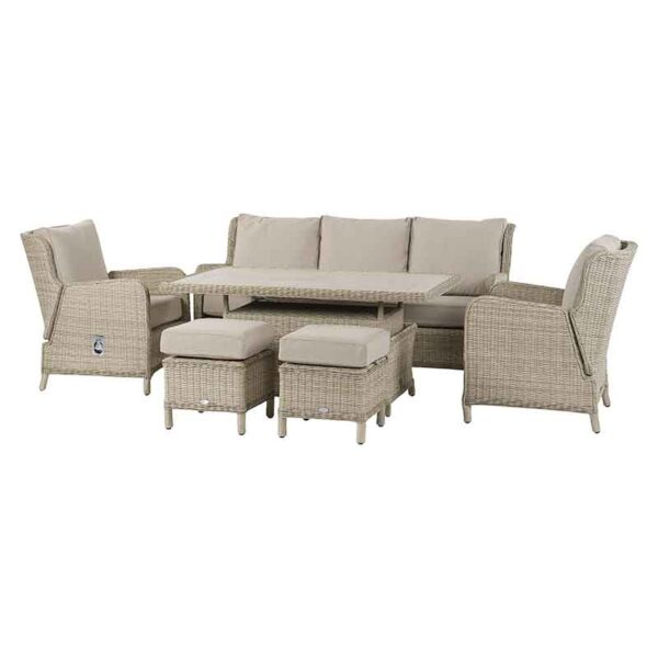 Bramblecrest Chedworth Reclining Sofa & Casual Dining Set in Sandstone