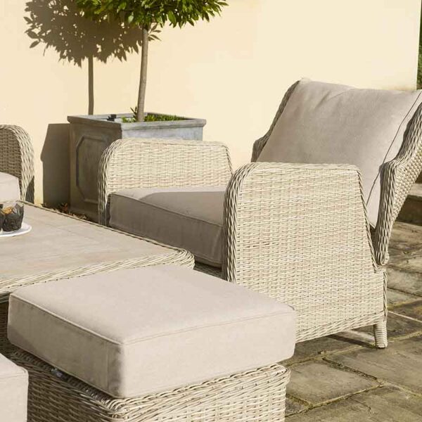 Bramblecrest Chedworth Reclining Sofa Set in Sandstone armchair and stool detail