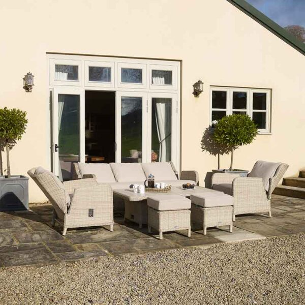 Bramblecrest Chedworth Reclining Sofa Set in Sandstone shown fully reclined