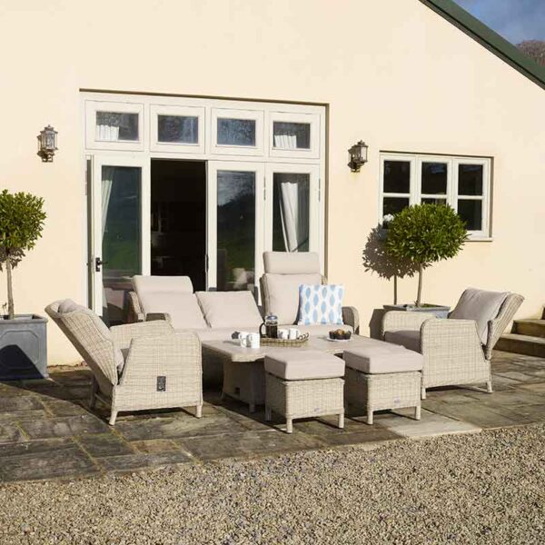 Bramblecrest Chedworth Reclining Sofa Set in Sandstone shown with multi recline positions