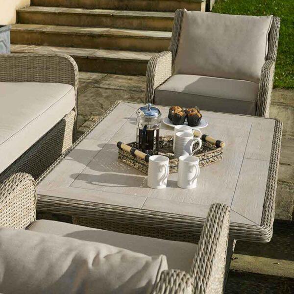 Bramblecrest Chedworth Reclining Sofa Set in Sandstone table top detail