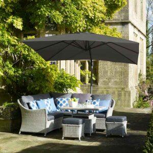 Bramblecrest Chichester 3m Square Side Post Parasol in Grey with Granite Base in garden