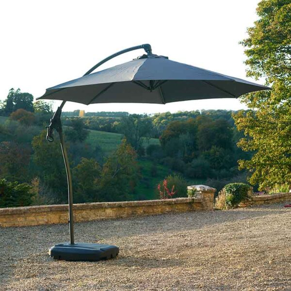 Bramblecrest Gloucester 3m Round Side Post Parasol & Protective Cover in Grey in garden