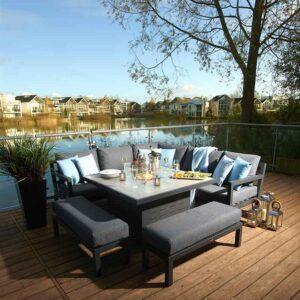 Bramblecrest La Rochelle 8 Seater Modular Sofa Set with Firepit Table