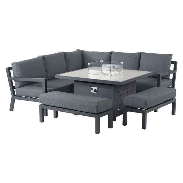 Bramblecrest La Rochelle 8 Seater Modular Sofa Set with Firepit Table set up