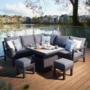 Bramblecrest La Rochelle Mini Adjustable Casual Dining Set on decking set for dining