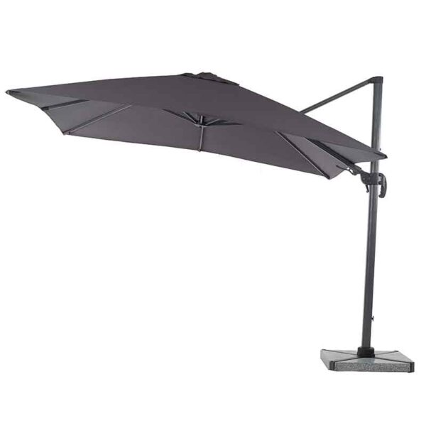 Bramblecrest Lichfield 2.7m Square Side Post Parasol in Grey with Granite Base & Cover