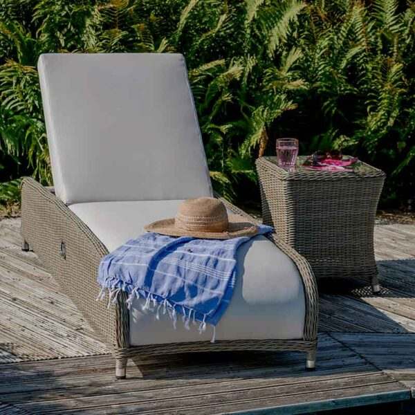 Bramblecrest Monte Carlo Reclining Sun Lounger with Side Table