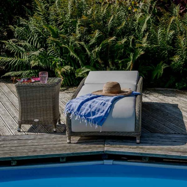 Bramblecrest Monte Carlo Reclining Sun Lounger with Side Table showing flat