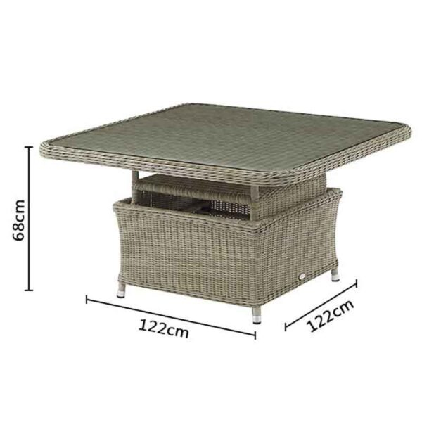 Bramblecrest Monte Carlo Square Adjustable Casual Dining Table