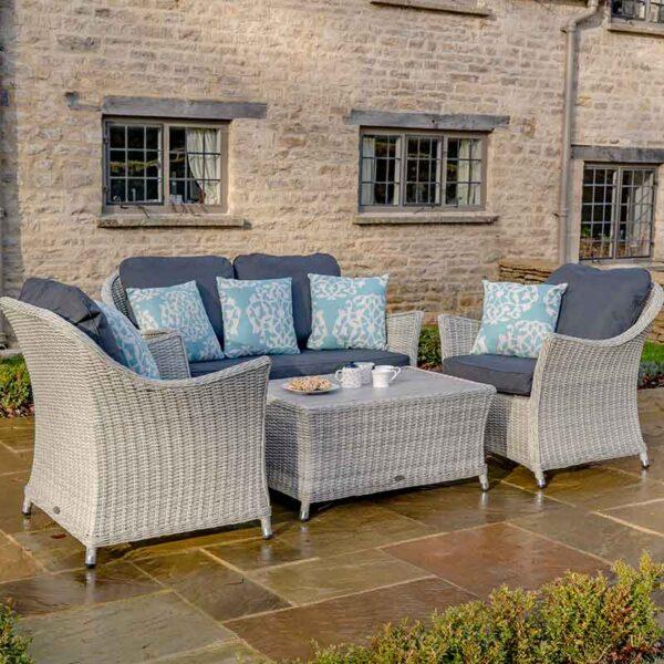 Bramblecrest Monterey 4 Seat Garden Lounge Set with Ceramic Top Coffee Table