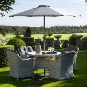 Bramblecrest Monterey 4 Seater Dining Set in Dove Grey with Parasol & Base