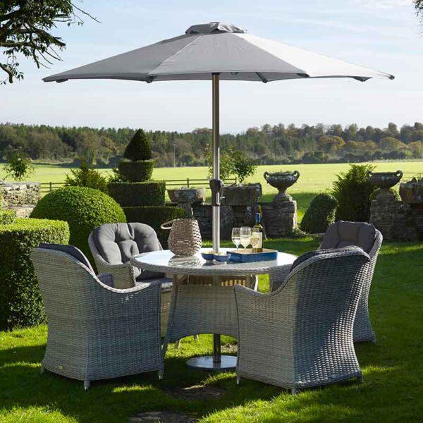 Bramblecrest Monterey 4 Seater Dining Set in Dove Grey with Parasol & Base