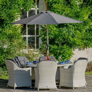 Bramblecrest Monterey 6 Seat Oval Dining Set in Dove Grey with Parasol & Base