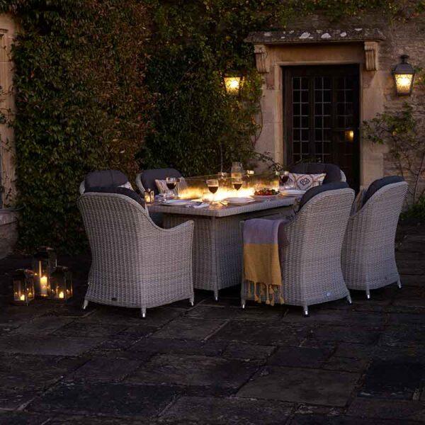 Bramblecrest Monterey 6 Seater Dining Set with Ceramic Firepit Table
