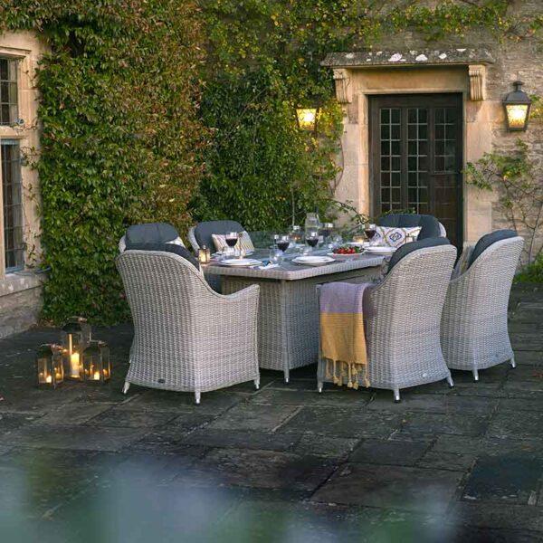 Bramblecrest Monterey 6 Seater Dining Set with Ceramic Firepit Table (not lit)