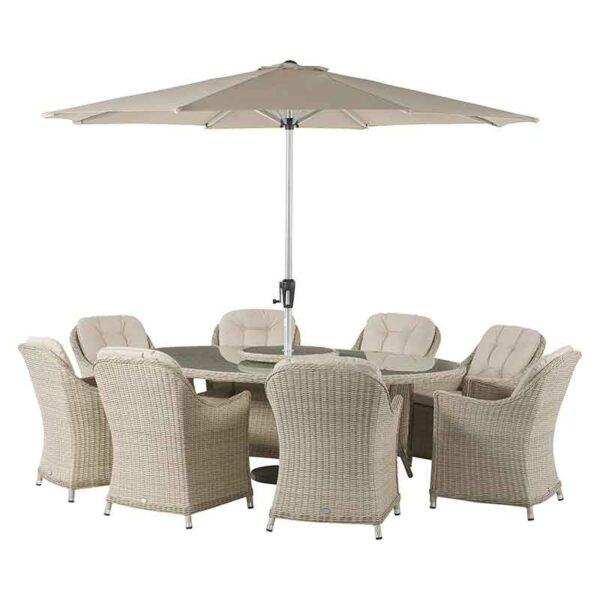 Bramblecrest Monterey 8 Seat Oval Dining Set with Lazy Susan, Parasol & 15kg Base