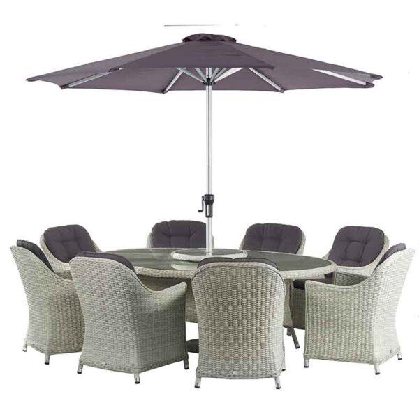 Bramblecrest Monterey 8 Seat Oval Dining Set with Lazy Susan, Parasol & Base