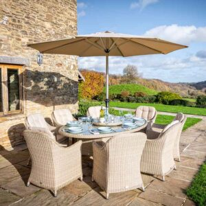Bramblecrest Monterey 8 Seat Oval Dining Set with Lazy Susan, Parasol & Base in Sandstone
