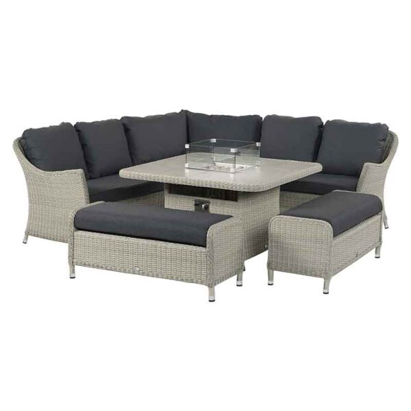 Bramblecrest Monterey Casual Dining Set in Dove Grey with Square Firepit Table