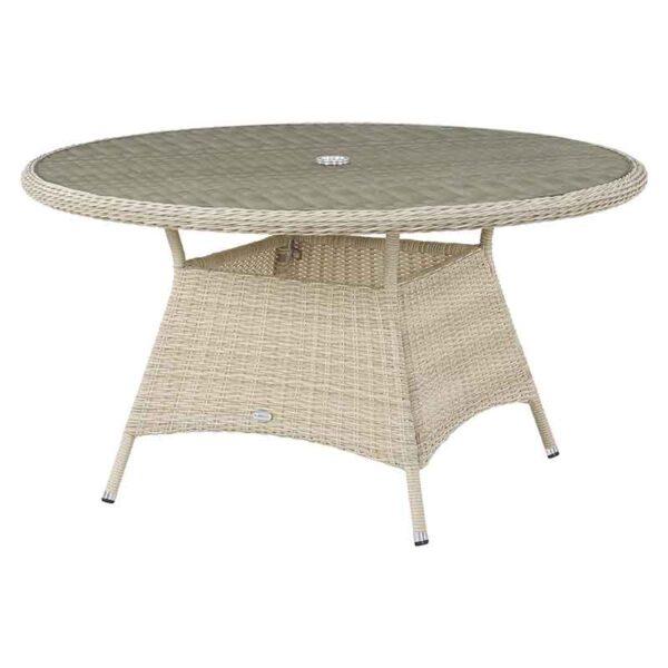 Bramblecrest Monterey Round 140cm Table in Sandstone with recessed glass top