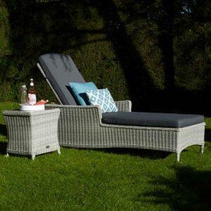 Bramblecrest Monterey Sun-Lounger & High Coffee Table with Ceramic Top