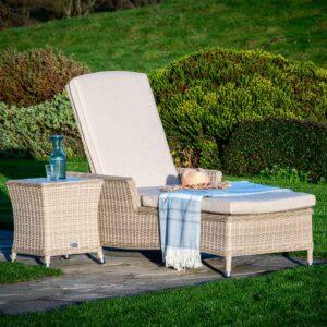 Bramblecrest Monterey Sun-Lounger & High Coffee Table with Ceramic Top in Sandstone