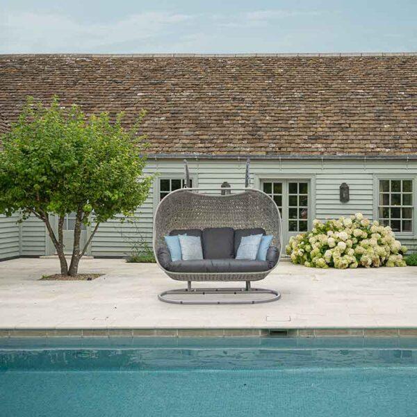 Bramblecrest Monterey Triple Cocoon in Dove Grey poolside