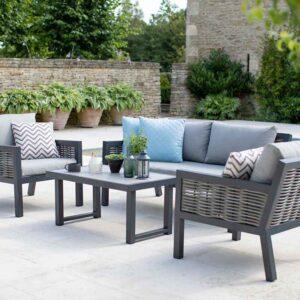 Bramblecrest Portofino 4 Seater Aluminium & Wicker Outdoor Lounge Set