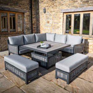 Bramblecrest Portofino Modular Sofa Set with Square Adjustable Table