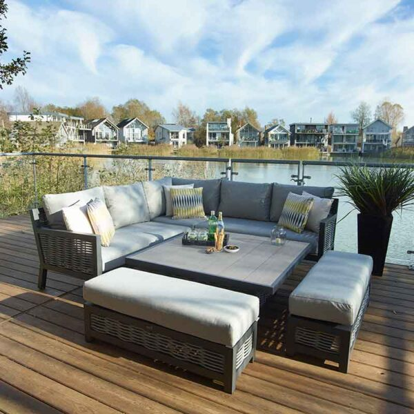 Bramblecrest Portofino Modular Sofa Set with Square Adjustable Table on decking