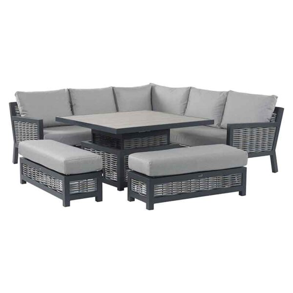 Bramblecrest Portofino Modular Sofa Set with Square Adjustable Table set high for dining