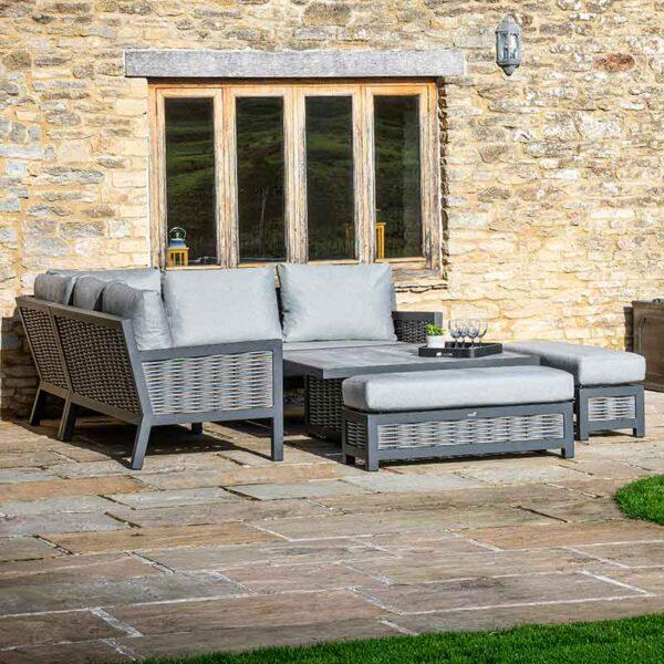 Bramblecrest Portofino Modular Sofa Set with Square Adjustable Table showing sofa back