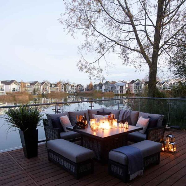 Bramblecrest Portofino Modular Sofa Set with Square Ceramic Top Firepit Table