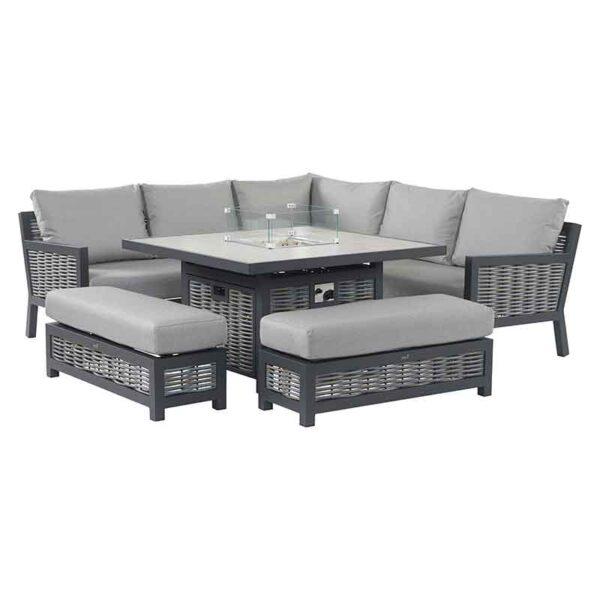 Bramblecrest Portofino Modular Sofa Set with Square Ceramic Top Firepit Table set up
